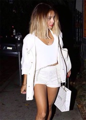 white jacket,vanessa hudgens,dope,jacket,all white everything,shorts,cardigan,celebrities in white,all white outfit