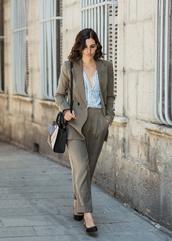 bag,grey pants,tumblr,shoulder bag,pants,matching set,power suit,work outfits,two piece pantsuits,shirt,stripes,striped shirt,blazer