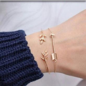 jewels gold pretty arrow bracelets