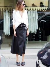 nina @ www.helloshopping.de,- it's a blog.,blogger,shirt,skirt,belt,gucci mules,asymmetric shirt,mules,asymmetrical top,black sunglasses,sunglasses,black leather skirt,leather skirt,midi skirt,black skirt,white top