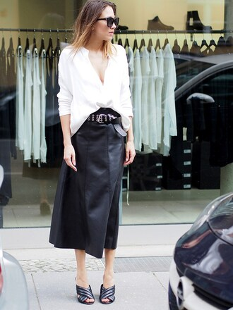 nina @ www.helloshopping.de - it's a blog. blogger shirt skirt belt gucci mules asymmetric shirt mules asymmetrical top black sunglasses sunglasses black leather skirt leather skirt midi skirt black skirt white top