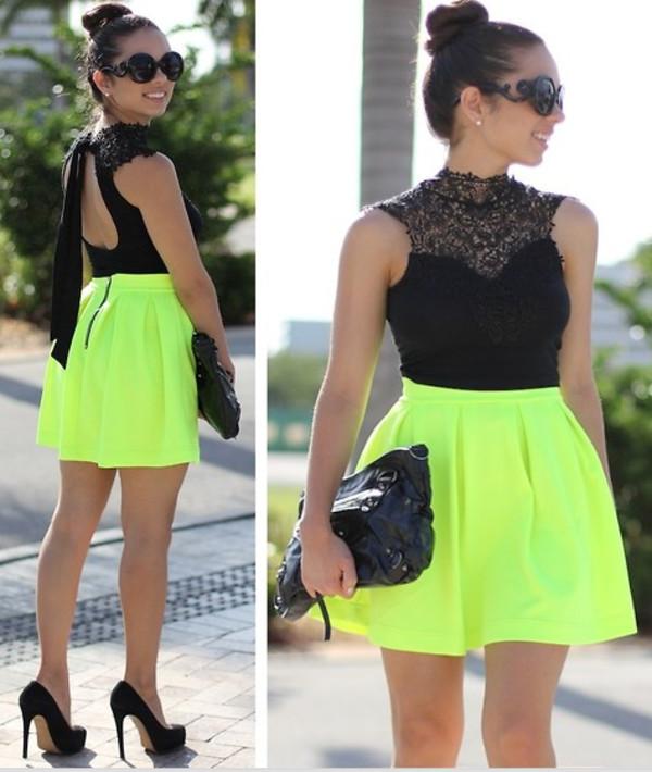 shirt top tank top crochet lace black skirt tulip pleated neon high neck crop blouse