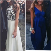 dress,blue,white,silver,long,prom,prom dress,long prom dress,bead,beaded,junior prom,navy,ivory,open sides,sheer,sequin dress,sequins,flowy,spaghetti strap,v neck dress,deep v dress,scoop neck,pearl,pearly