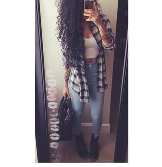 shoes jeans high waisted jeans top flannel shirt