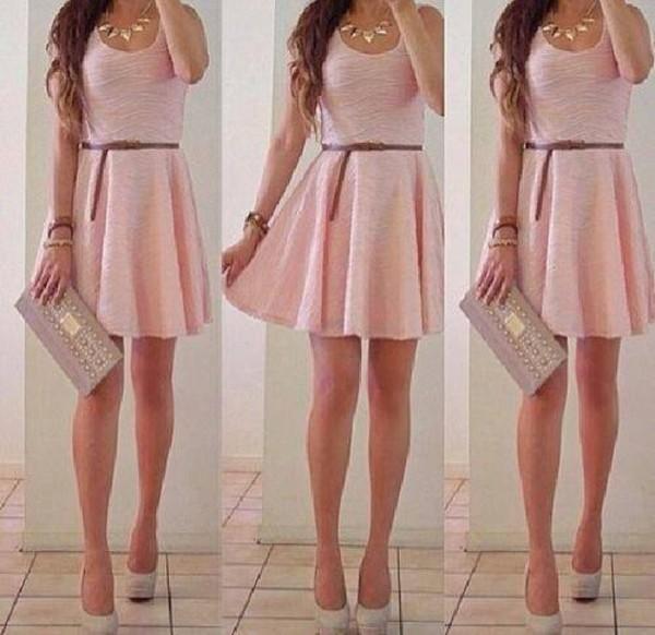 dress pink pink pink dress short dress girly little black dress prom dress cute dress summer dress girl nude high heels skirt