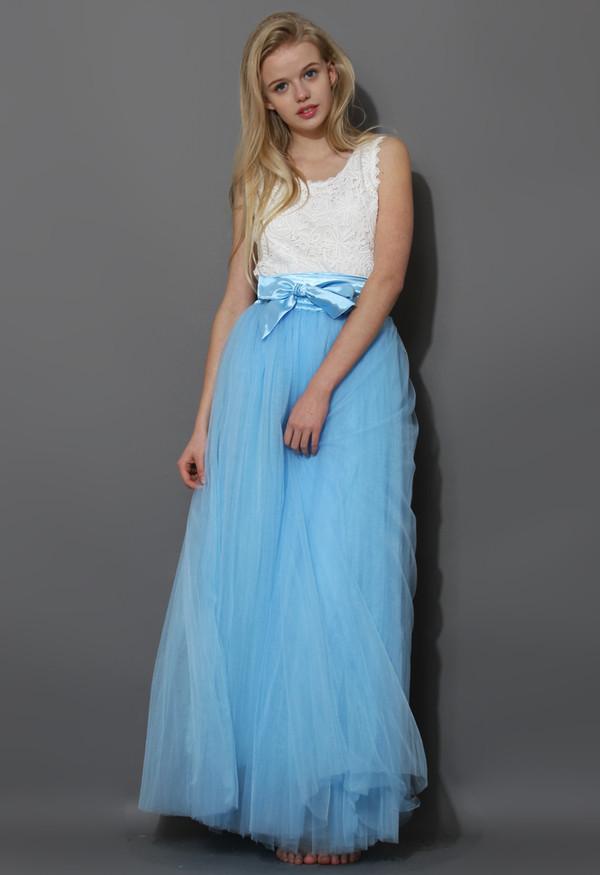 skirt amoer maxi tulle skirt prom sky blue
