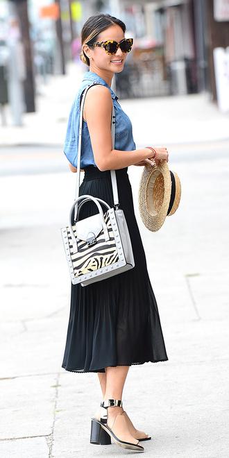 skirt jamie chung bag sunglasses hat shirt