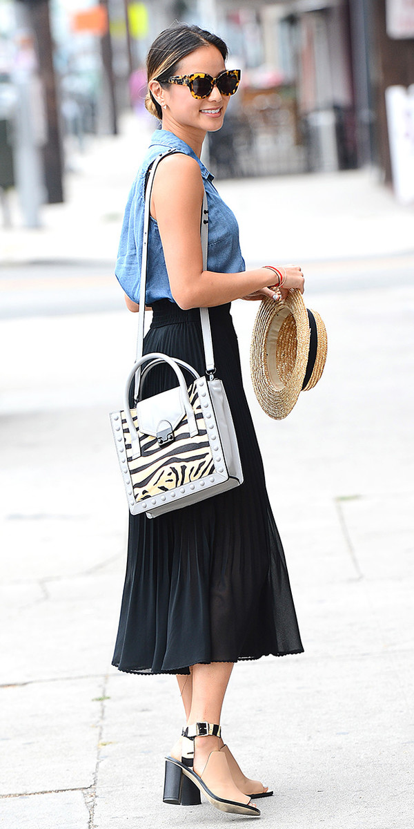 skirt jamie chung bag sunglasses hat shirt