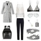 oracle fox,blogger,nail polish,grey coat,leather backpack,aviator sunglasses,nike sneakers,black pants,white top,outfit,bag