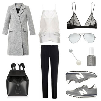 oracle fox blogger nail polish grey coat leather backpack aviator sunglasses nike sneakers black pants white top outfit