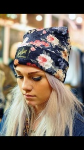 floral hat,hat,fashion,beanie,roses,floral