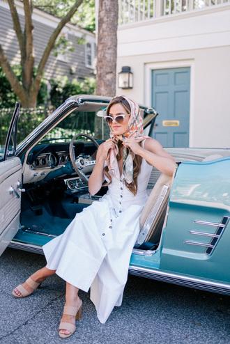dress sunglasses scarf tumblr midi dress white dress button up sleeveless sleeveless dress sandals mules shoes