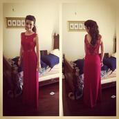 dress,high neck,backless,prom dress,hick neck,maxi dress,red dress,lace,lace back,low back,red maxi dress,prom