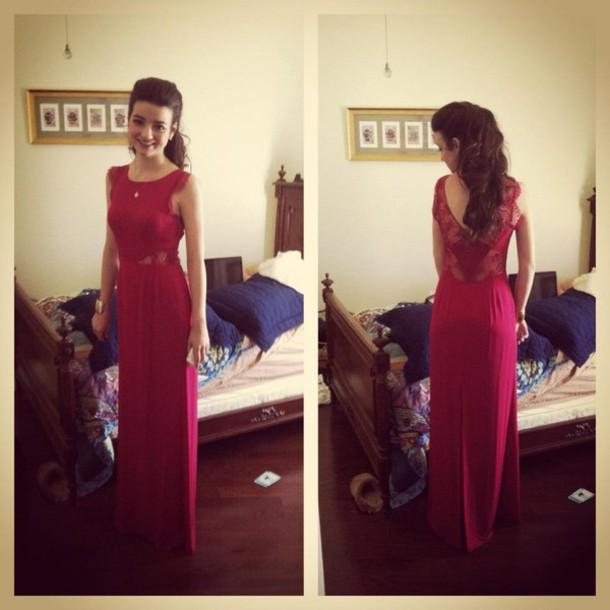High neck backless lace dress