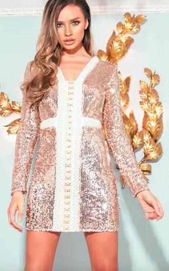 dress prettylittlething wedding dress sequins rose gold classy elegant pink pink dress light pink light pink dress bodycon dress summer dress