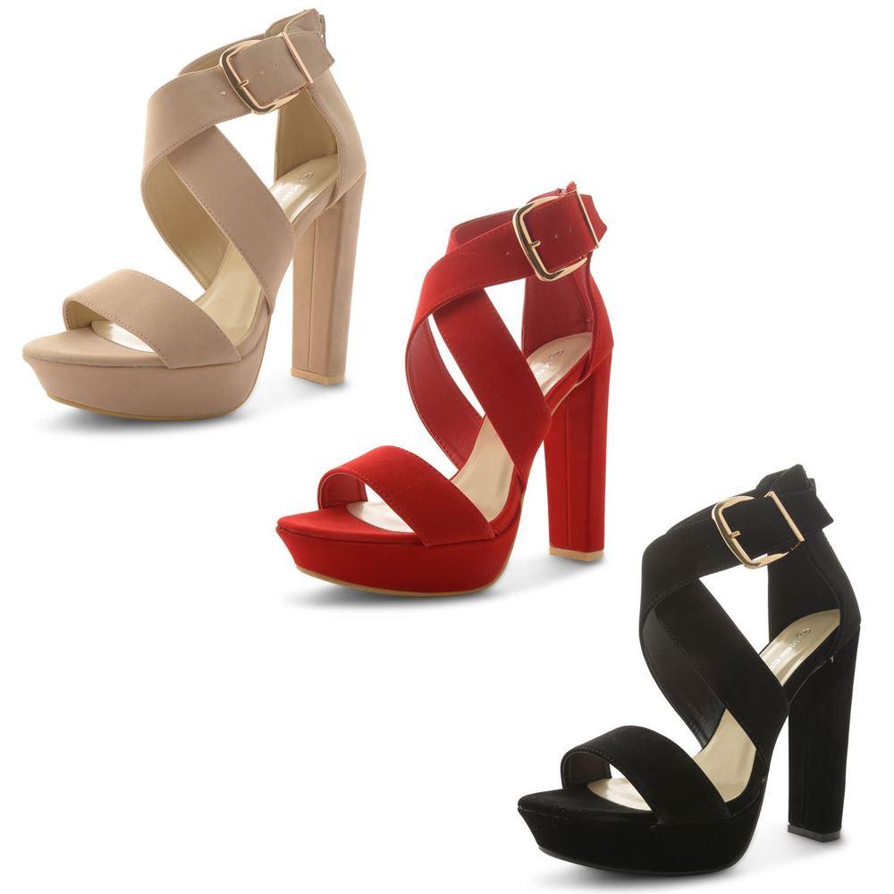 78021088ab2 Womens Ladies Strappy Platform Block High Heel Ankle Strap ...