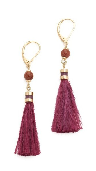 tassel earrings purple jewels
