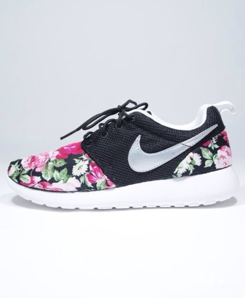 shoes, nike rosh floral design, nike