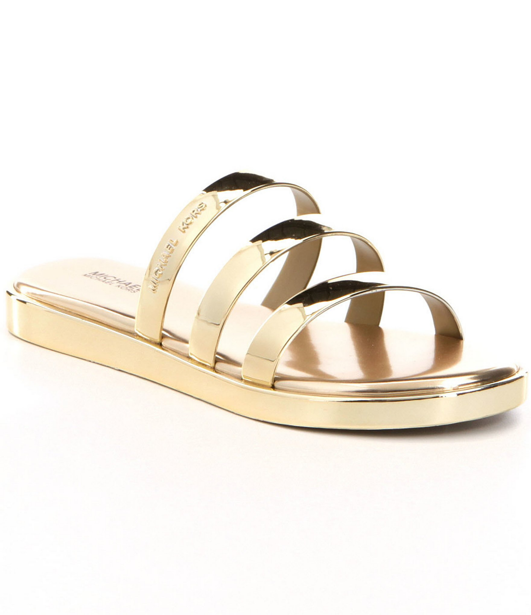 MICHAEL Michael Kors Metallic Keiko Strappy Slide-on Sandals | Dillards