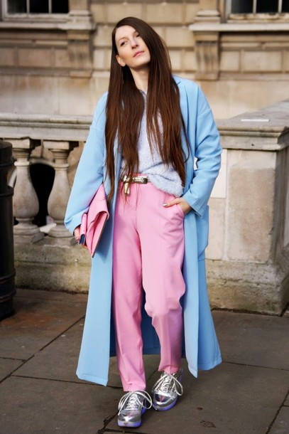 magdarling blogger sweater pants long coat light blue silver shoes pink coat bag skirt shoes