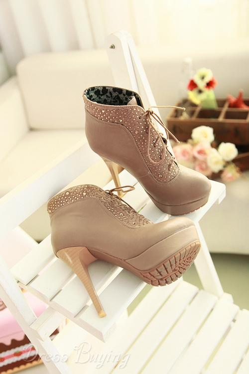 Czech Rhinestones stiletto heel two ways of wear style  beige shoes 10632040 - Dressbuying.com