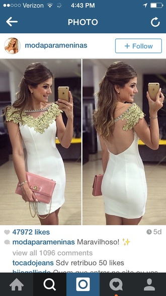 dress wedding dress formal dress white white dress gold gold sequins gold dress queen purse pink pink purse brunette bodycon dress style heals heels necklace make-up beauty tank top earrings jewels jewelry sheek
