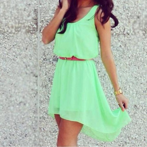 dress flowy neon green brown belt short dress neon green summer cute clothes mint belt gold