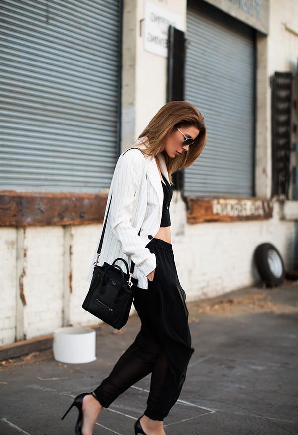 blogger sunglasses top jacket bag pants shoes
