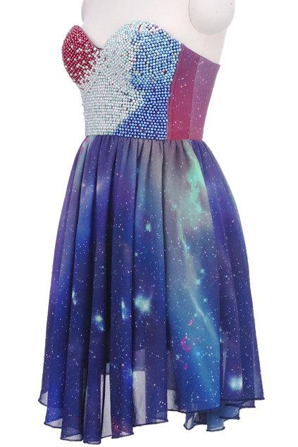 Beaded bandeau galaxy dress(arrival on dec.10th), the latest street fashion on wanelo
