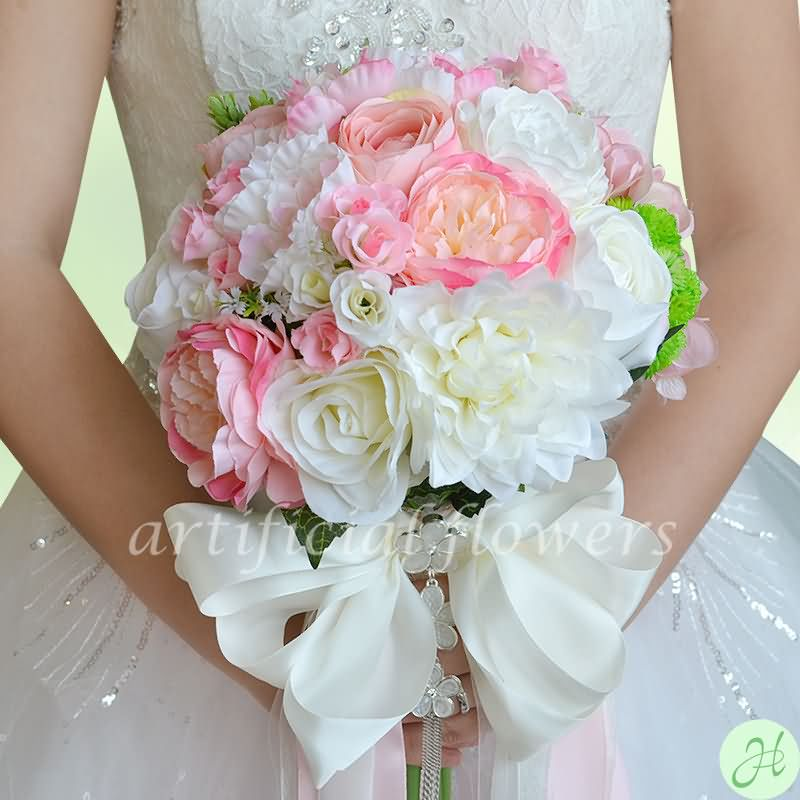 Artificial Bridal Wedding Flowers Silk Faux Flowers Bouquets Pink ...