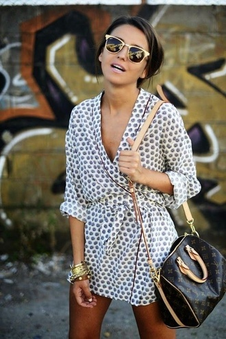 dress mini dress mini wrap dress wrap dress white dress polka dots bag brown bag louis vuitton sunglasses rayban stacked bracelets