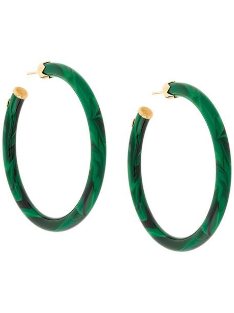 Gas Bijoux women earrings hoop earrings gold green jewels