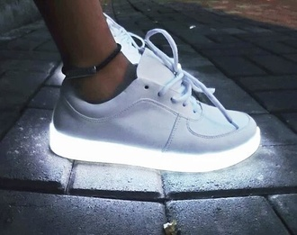shoes white white shoes sneakers glow in the dark glow in the dark shoes light urban streetstyle