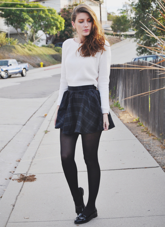 these days blogger plaid skirt loafers mini skirt