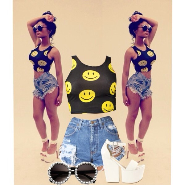 shirt crop tops smiley smiley face top black india westbrooks fashion shorts sunglasses tank top shoes top smiley yellow