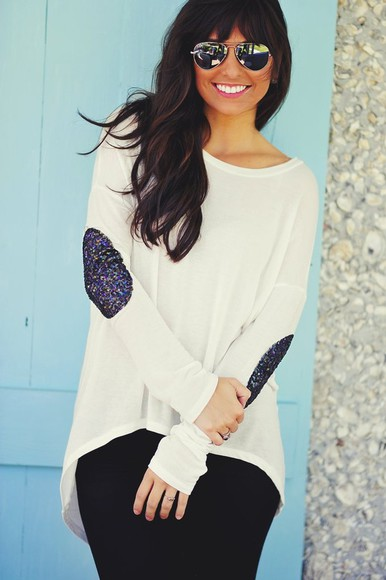sweater sequins white elbow patch shirt cute hipster sequin blue silver grey gold patch sweater sequin elbow patch sweater sequin elbow patch boho indie hippie pretty hot bohemian
