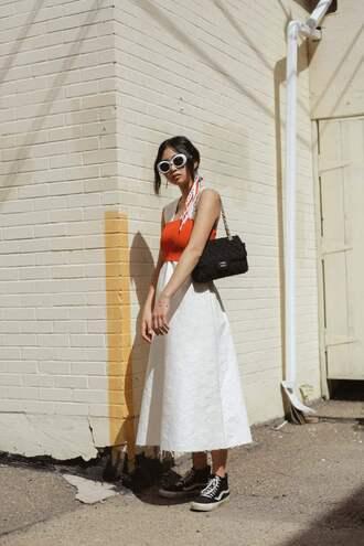 dress black sneakers tumblr sleeveless sleeveless dress midi dress white dress sneakers vans bag sunglasses white sunglasses top