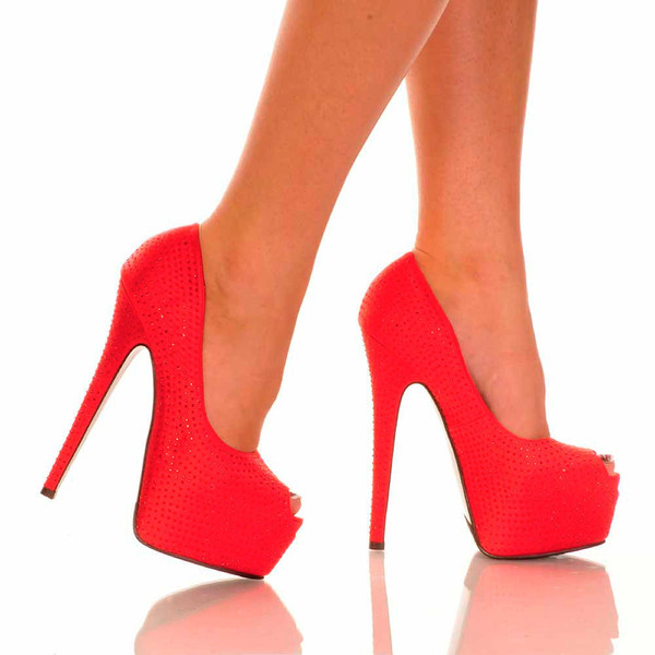 Red Peep Toe Pump | Yallure