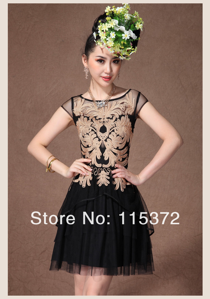 IFM Fashion2013European Women's Summer New Paillette Hollow Embroidery Cultivating Wild Fluorescent Black,White Sleeveless Dress-in Dresses from Apparel & Accessories on Aliexpress.com