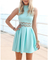 Casual high neck mint dress cut out pleated lace dress women summer dress 2014 vestidos casual free shipping vestido de renda