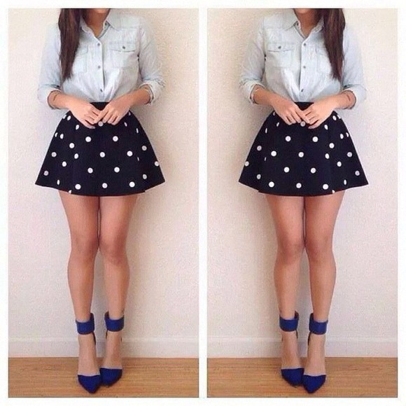 jeans denim blouse black short skirt denim jacket polka dots girly