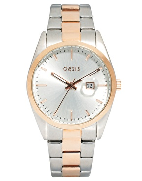 Oasis | Oasis Two Tone Vintage Style Link Watch at ASOS