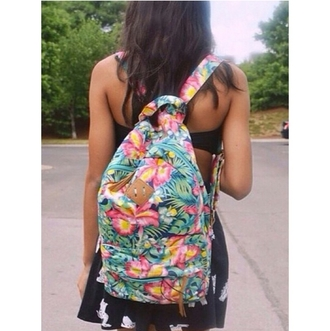 bag backpack purse tropical backpack floral bag on point clothing style trendy stylish teenagers tumblr girl blogger fashion inspo chill rad pants top