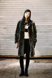 vanessa jackman,blogger,striped sweater,faux fur,winter coat,coat,sweater,shoes,long fur coat