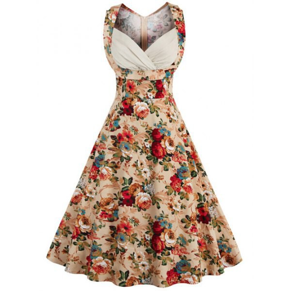 Rosewholesale Retro Style High-Waisted Floral Print Women's Dress