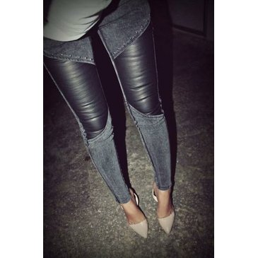 Wholesale Korean Style Rivets Embellished Slim Splicing Pants from wholesale-dress.net   FASHIOLISTA   love your style!