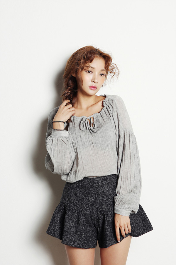 blouse grey korean fashion