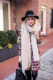 dress,bag,tights,scarf,hat,shoes,jewels,opaque tights,black hat,fall dress,floral,floral dress,blogger,poor little it girl