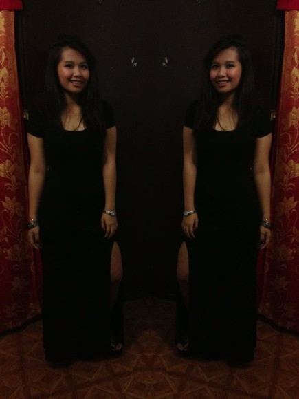 dress black slit forever 21 primadonna