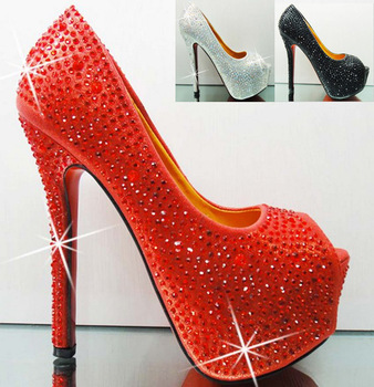 Aliexpress.com : Buy Free shipping 2013 summer Rhinestone Red crystal high heel wedding shoes sliver ultra high heels bridal shoes form dress pumps from Reliable dress shoes high heels suppliers on Cheap Shoes Online!.